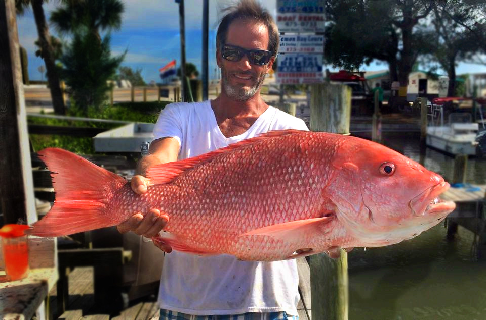 Charter Fishing in Englewood Florida. Captain Dan holds up a nice Red Snapper at the dock.